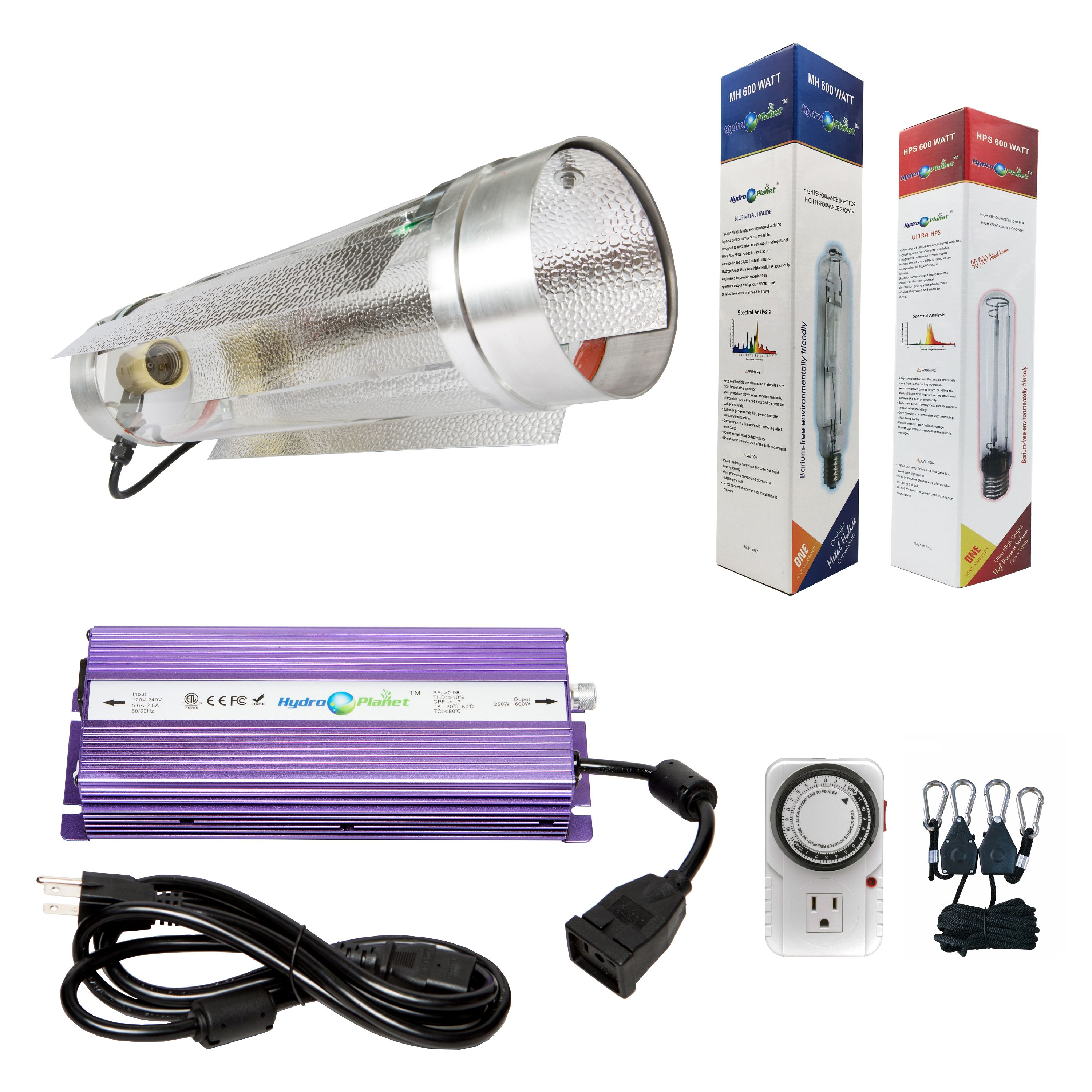 Hydroplanet™ 600w Digital Ballast Dimable HPS Mh Grow Light System for Plant with Air Cooled Tube Reflector