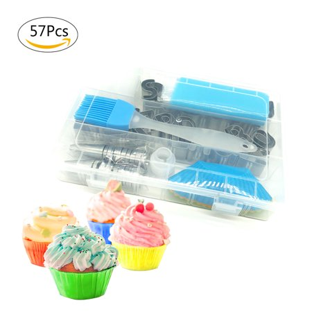 Cake Decorating Supplies - Professional Cupcake Decorating Kit | Baking Supplies | Letter Cookie Biscuit Cutter Set, Frosting & Piping Bags and Icing Tips Set, Pastry Tools | 57 Pcs (Halloween Decorating Ideas For Cookies)