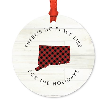US State Round Metal Christmas Ornament, Red Plaid on Light Rustic Wood, Connecticut, Includes Ribbon and Gift Bag ()