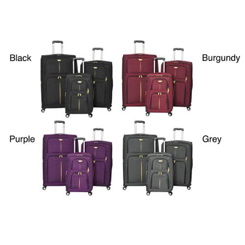 American Travel Elitist 3-piece Expandable Spinner Luggage Set Burgundy