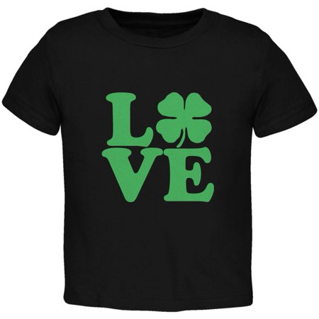 St. Patricks Day - Love Irish Shamrock Black Toddler (Irish Italian St Patricks Day T Shirts)