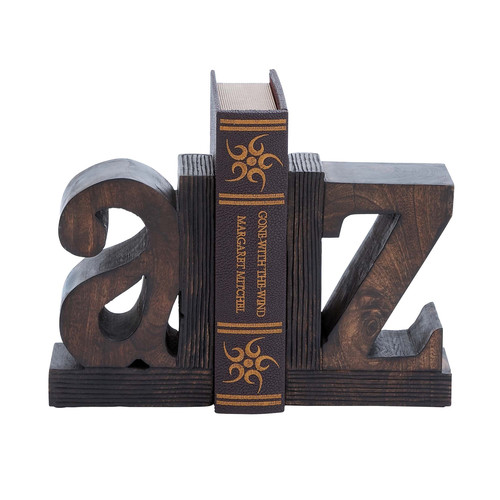 EC World Imports Artisan Hand Carved A to Z Wooden Bookends by ecWorld