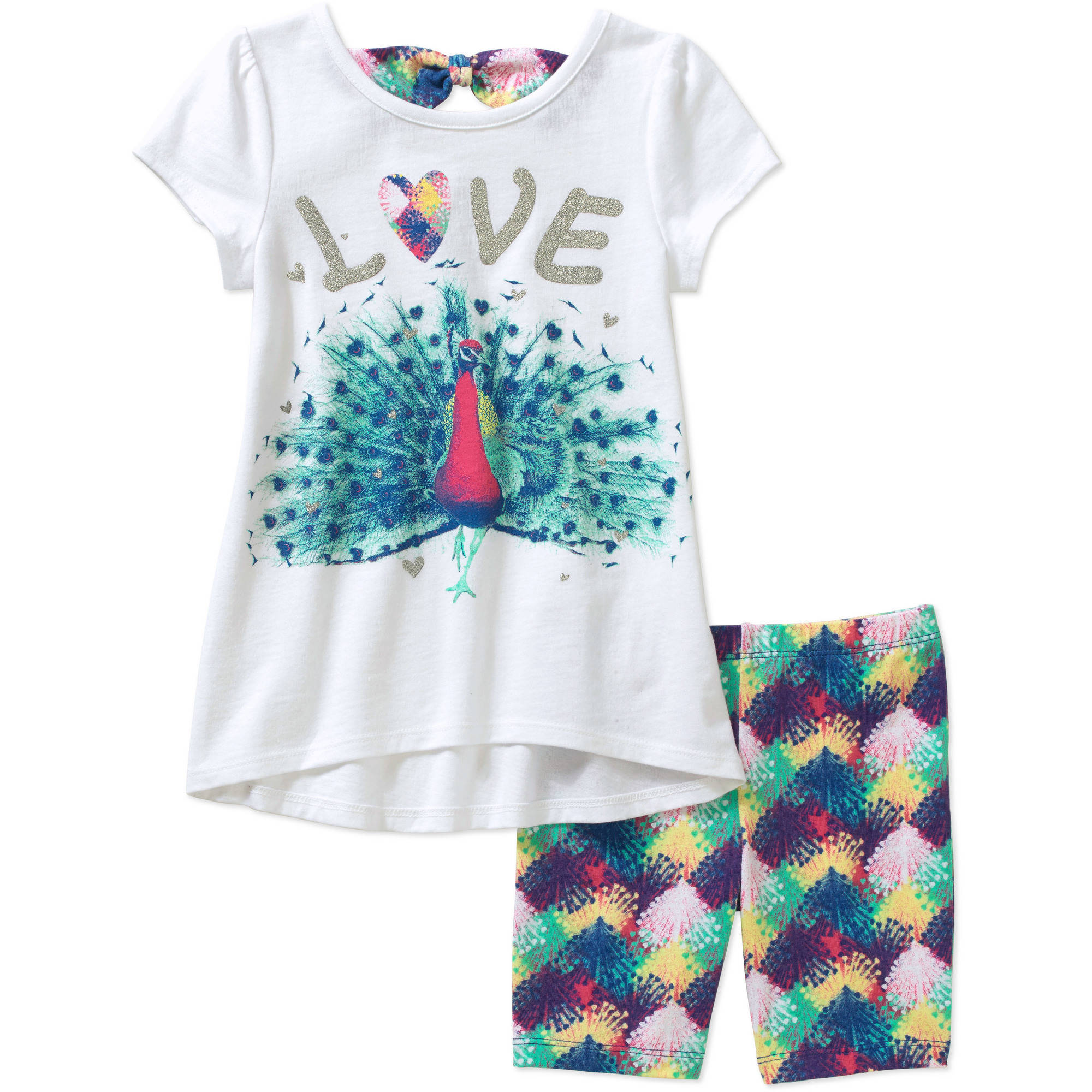 Faded Glory Girls' Short Sleeve Tee and Short Set