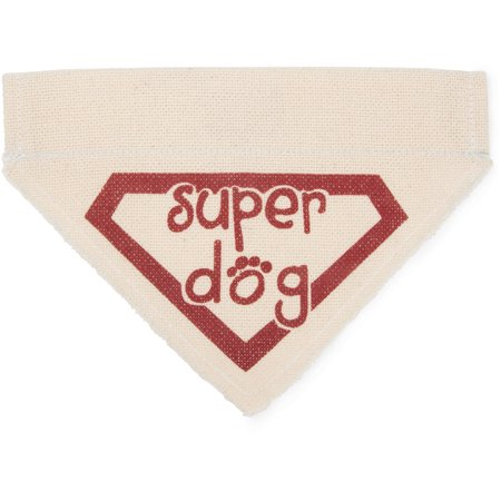 Pavilion - Beige Paw Print Small Dog Slip on the Collar Bandanna - Super Dog ()