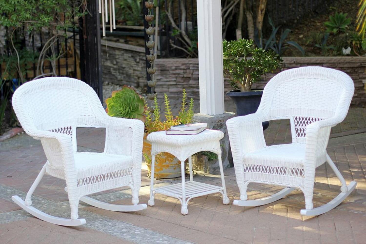 3-Piece Ariel White Resin Wicker Patio Rocker Chairs and Table Furniture Set by Resin Furniture