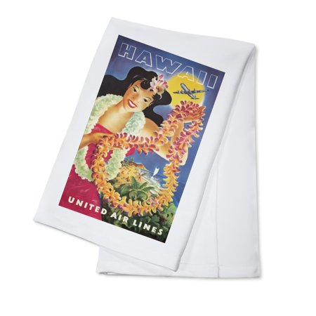 United Airlines   Hawaii Vintage Poster  Artist  Feher  Usa C  1950  100  Cotton Kitchen Towel