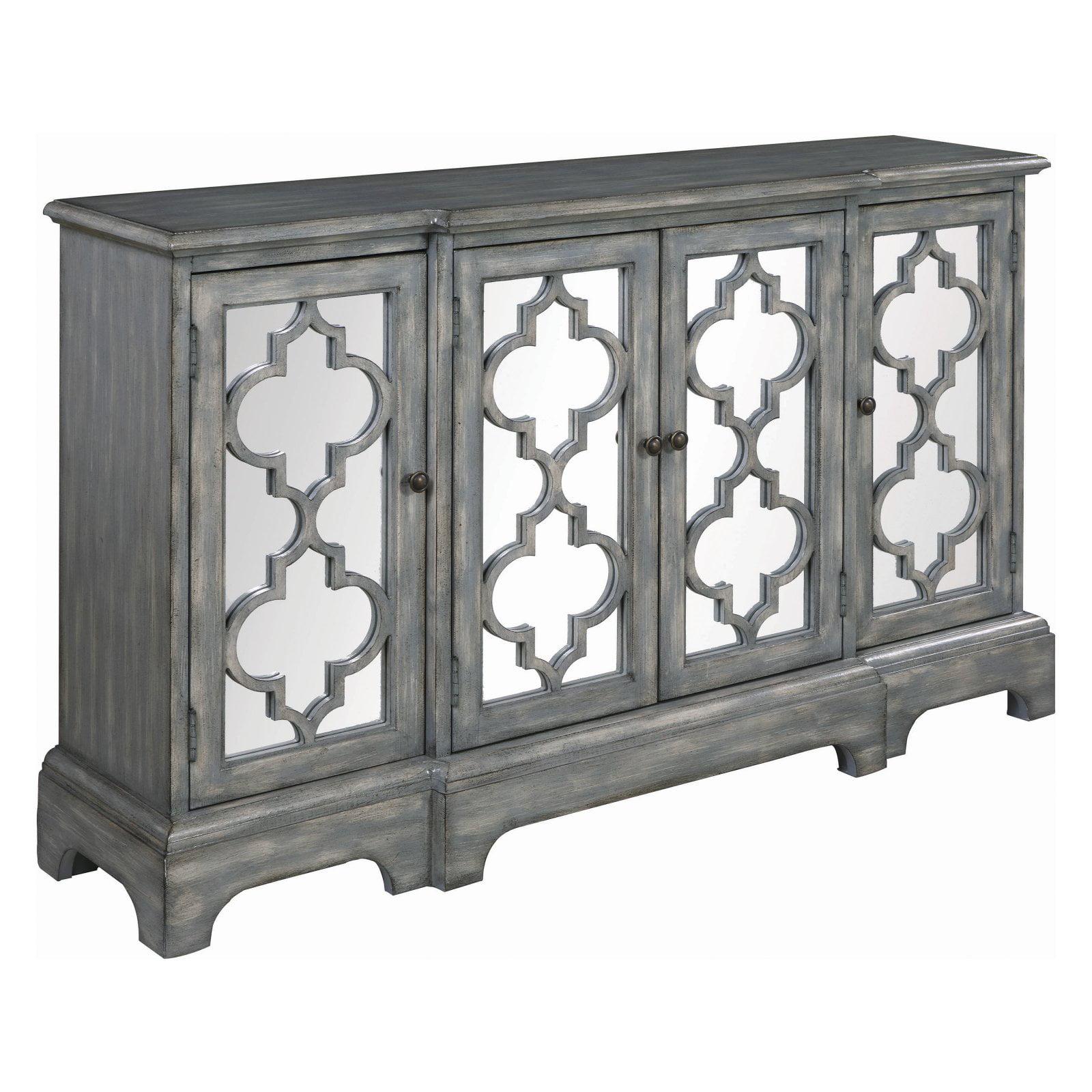 Coaster Furniture Gray Decorative Lattice 4 Door Accent Cabinet