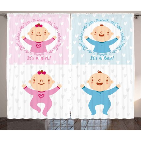 Gender Reveal Decorations Curtains 2 Panels Set, Baby Boy Girl Infants Newborn Celebration Hearts Theme, Window Drapes for Living Room Bedroom, 108W X 84L Inches, Light Pink Sky Blue, by Ambesonne