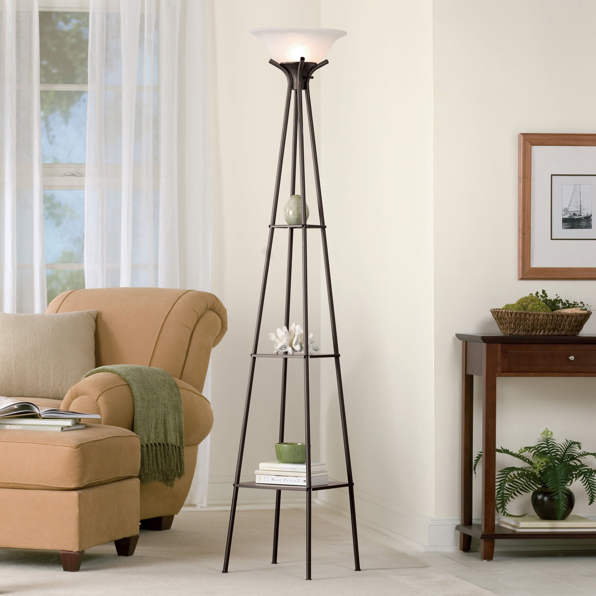 Tall Modern Floor Lamp Charcoal Finish Shelf Light Living ...