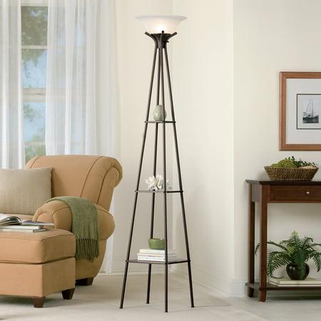 Mainstays 69 Quot Etagere Shelf Floor Lamp Dark Charcoal Finish Walmart Com Walmart Com