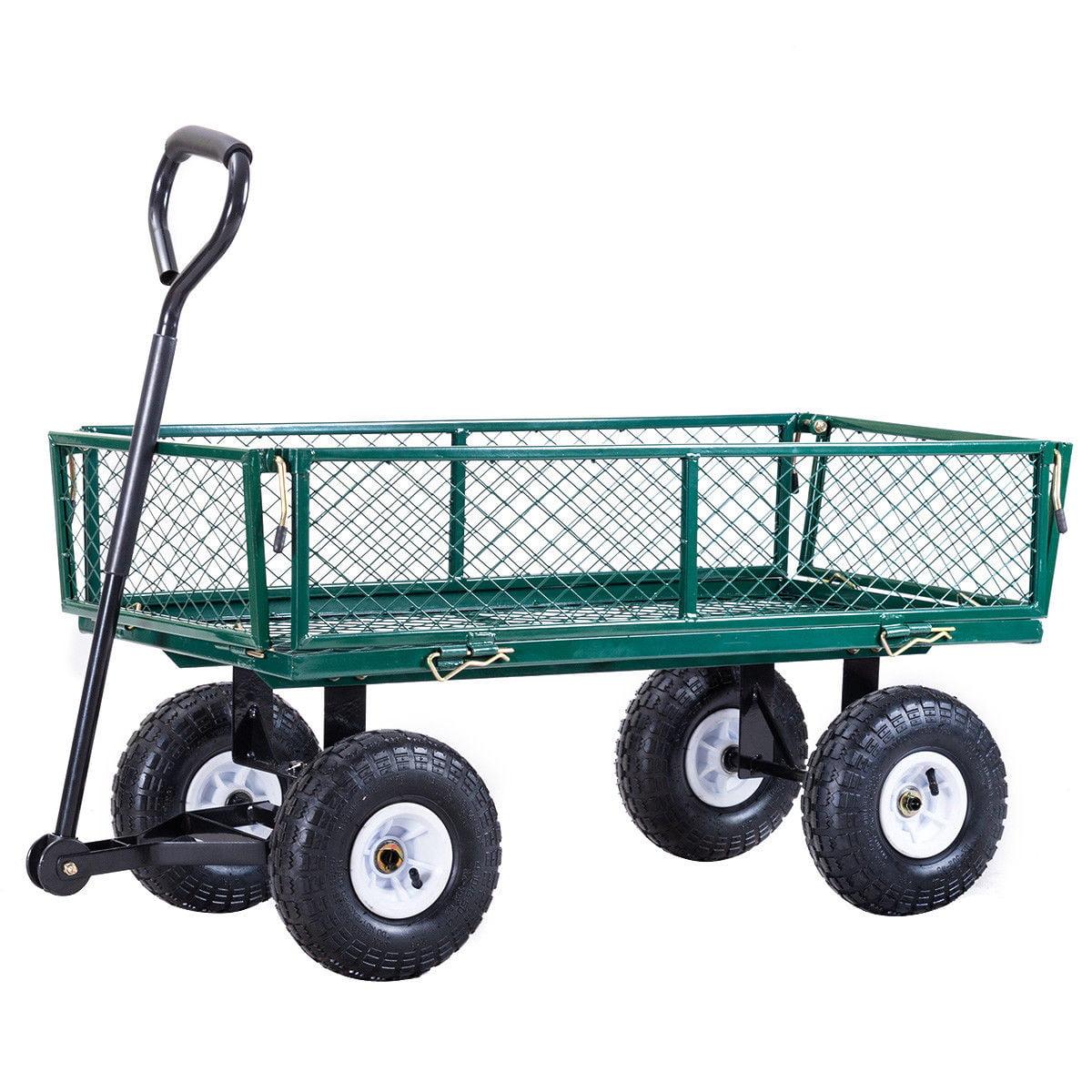 Gymax Heavy Duty Lawn Garden Utility Cart Wagon Wheelbarrow Steel Trailer