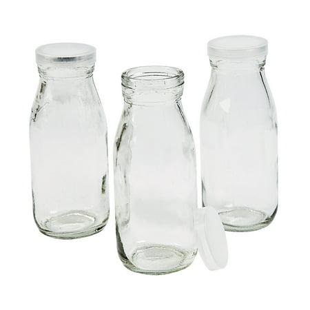IN-13648571 Clear Glass Milk Bottles with Lid Per Dozen (Personalized Glass Milk Bottles)