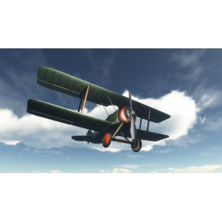 Biplane flying in blue cloudy sky Poster (Flying Point)