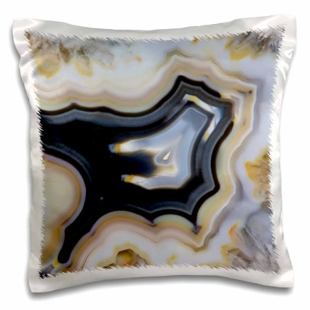 (3dRose Banded Agate, Quartzsite, white and gray - Pillow Case, 16 by 16-inch)
