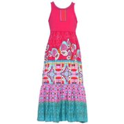 Little Girls Multi Color Waverly Print Stripe Panel Maxi Dress 6
