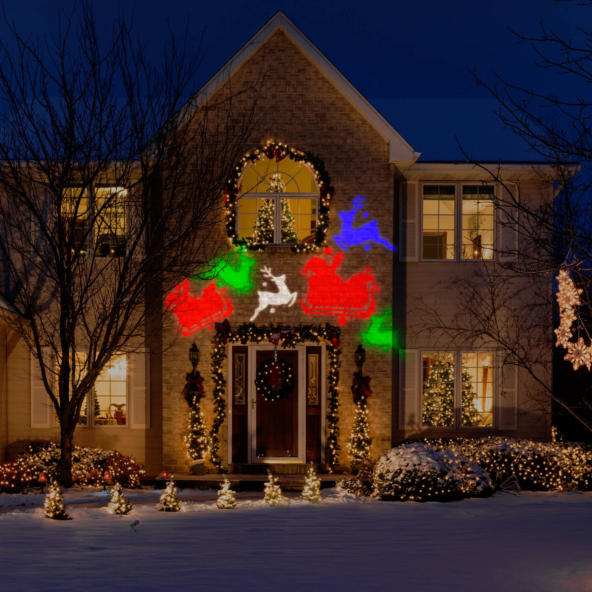 gemmy lightshow projection whirl a motion christmas lights walmartcom - Led Light Christmas Decorations
