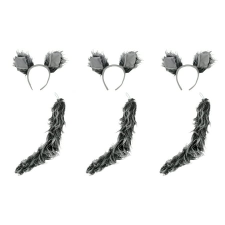 Werewolf Big Bad Wolf Ears Tail Kit Wolfman Grey Costume Set Halloween Accessory - Wolf Pack Costume
