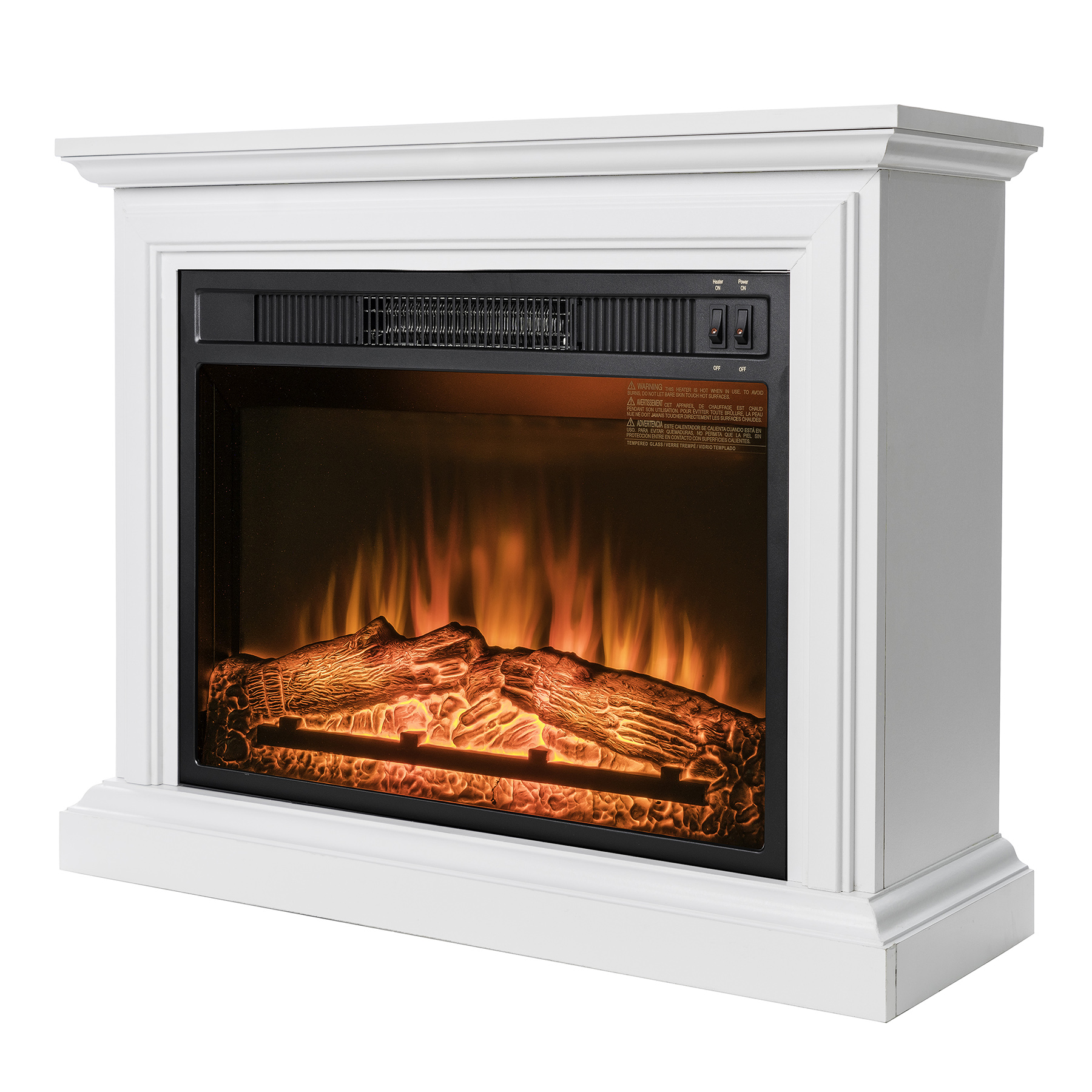 "AKDY FP0090 32"" Electric Fireplace Freestanding White Wooden Mantel Firebox Heater 3D Flame w/ Logs"