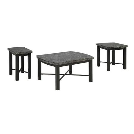 Ashley otterton 3 piece coffee table set in black and gray for 3 piece coffee table set black