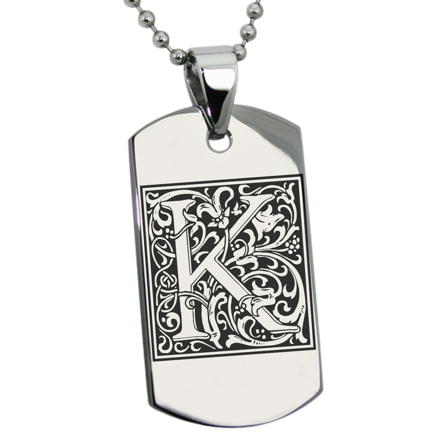 Stainless Steel Letter K Initial Floral Monogram Engraved Dog Tag Pendant