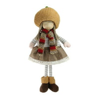 """15"""" Standing Autumn Girl Gnome with Scarf and Pumpkin Hat Thanksgiving Figure"""