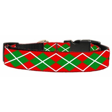 (Christmas Argyle Nylon Ribbon Collar Medium)