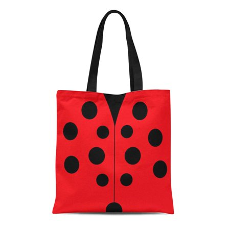 LADDKE Canvas Tote Bag Red Cute Modern Ladybug Gel Black Polka Dots Pattern Reusable Handbag Shoulder Grocery Shopping Bags