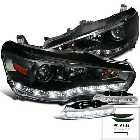 Spec-D Tuning 2008-2015 Mitsubishi Lancer Black R8 Style Led Projector Headlight + Bumper Lights Fog Lamp (Left + Right) 2008 2009 2010 2011 2012 2013 2014 2015