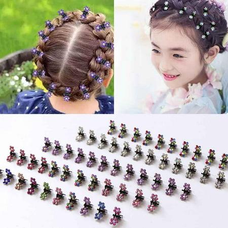 12PCS Girls Small Crystal Flowers Metal Hair Claws Children Mini Rhinestone Hair Clamp Kids Hair Oranment Clips Baby Hairpins Random - Mini Claw Machine For Sale