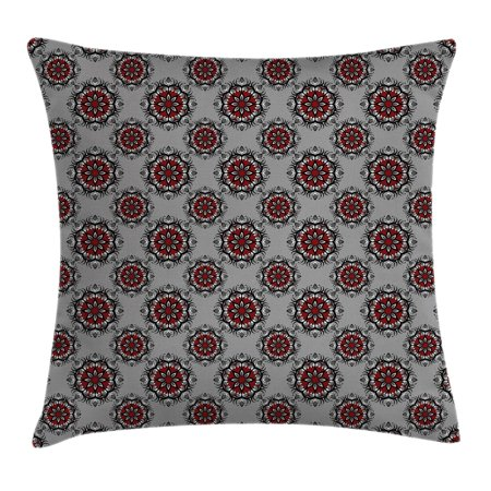 Red and Black Throw Pillow Cushion Cover, Persian Moroccan Middle Eastern Design with Flower ...