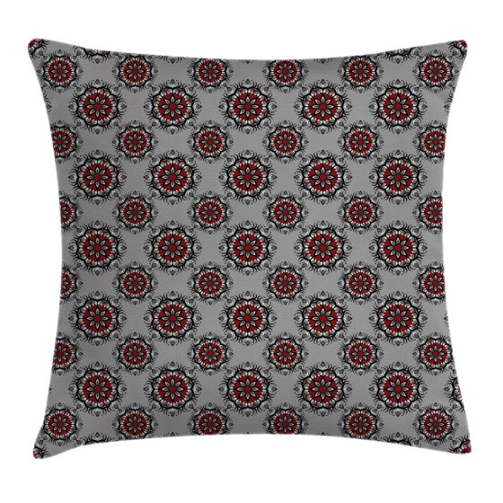 Throw Pillow Case 20 X 20 : Red and Black Throw Pillow Cushion Cover, Persian Moroccan Middle Eastern Design with Flower ...