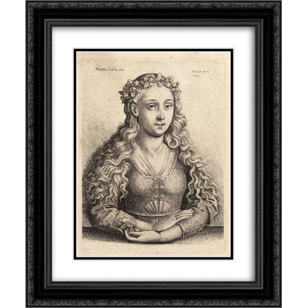 Martin Schongauer 2x Matted 20x24 Black Ornate Framed Art Print 'Woman with a wreath of oak - Black Wreath