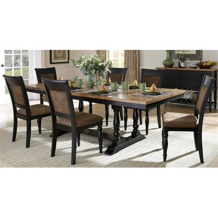 7 pc dining set in distressed black finish