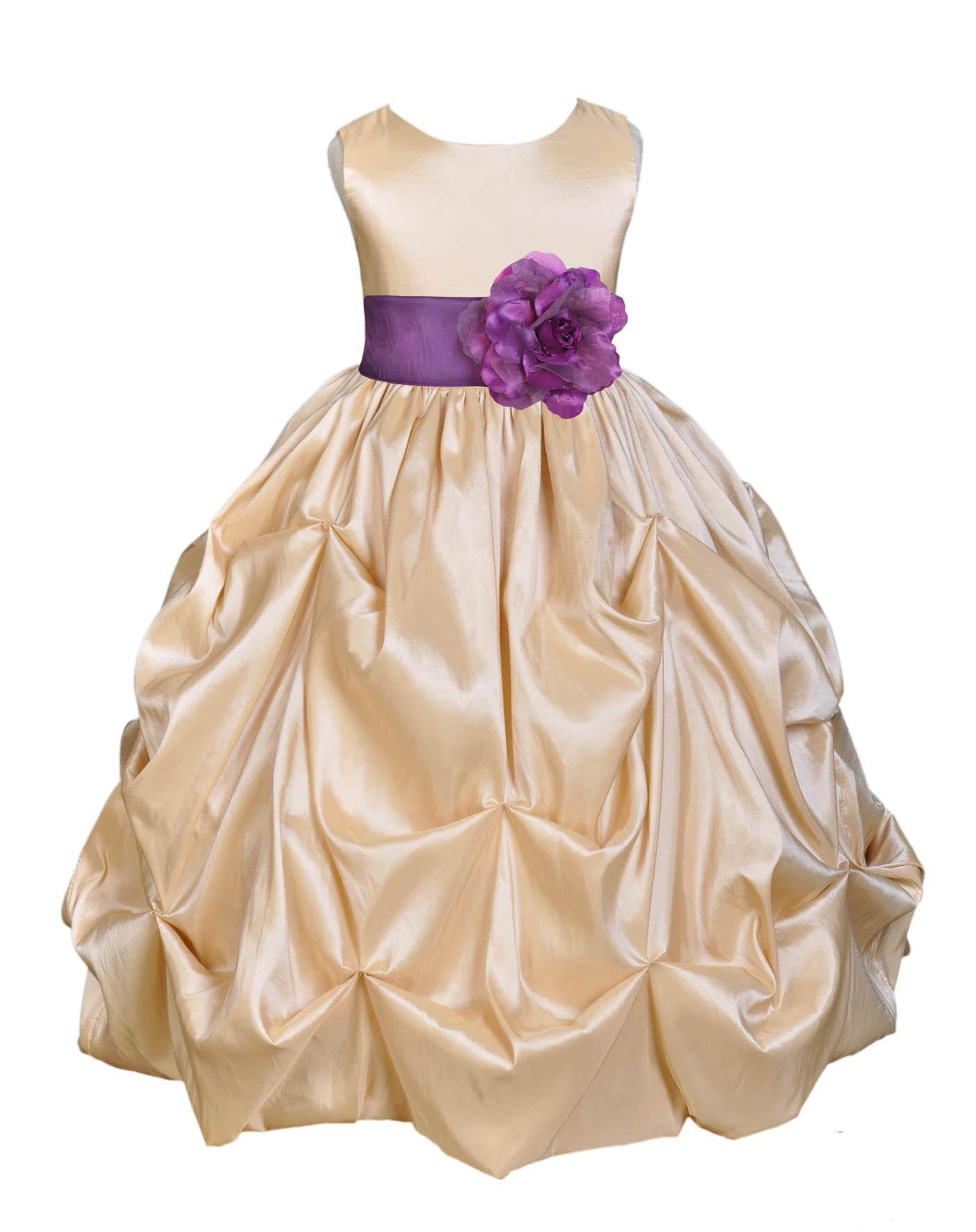 Ekidsbridal Taffeta Bubble Pick-up Champagne Flower Girl Dress Weddings Summer Easter Special Occasions Pageant Toddler Birthday Party Holiday Bridal Baptism Junior Bridesmaid Communion 301S