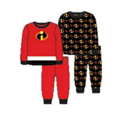 Pixar Boys' Toddler Incredibles Uniform 4-Piece Cotton Pajama Set, red, - The Incredibles Pajamas