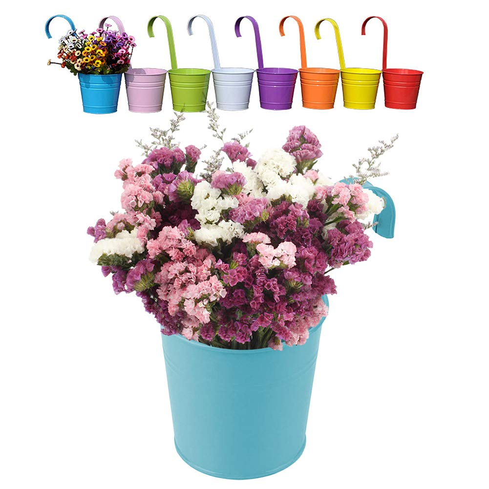 225 & Mr.Garden Metal Flower Pots - Vertical Hanging Planters - Iron Pots for Fence Decor and Balcony Blue 2 Pack