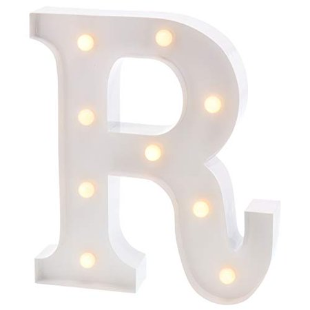 Barnyard Designs Metal Marquee Letter R Light Up Wall Initial Wedding, Bar, Home and Nursery Letter Decoration 12