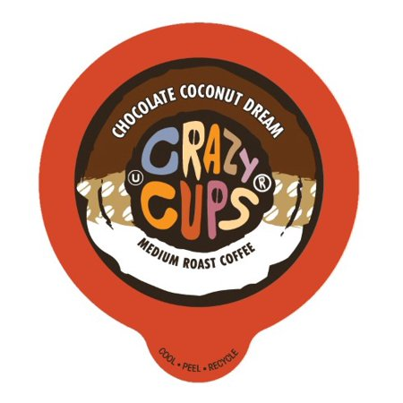 Crazy Cups Decaf Chocolate Coconut Dream Flavored Coffee Single Serve Cups, 22 count