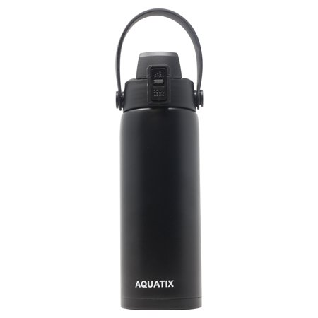 New Aquatix (Black, 21 Ounce) Pure Stainless Steel Double Wall Vacuum Insulated Sports Water Bottle Convenient Flip Top Cap with Removable Strap Handle - Keeps Drinks Cold 24 hr/Hot 6 hr Double Notch Steel Strap