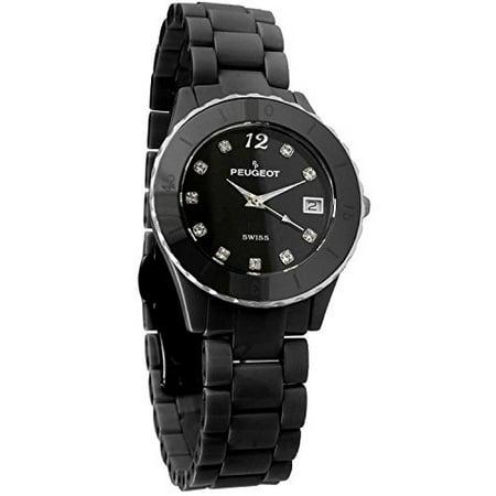 Swiss Black Ceramic Watch with Sport Bezel and a Black Dial. PS4882bk Black Dial Ceramic Bezel