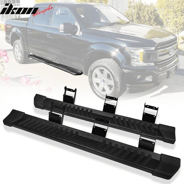 IKON MOTORSPORTS V Style Black Steel Side Step Bar Nerf Bar Running Boards Compatible With 2015-2020 Ford F150 SuperCrew Cab