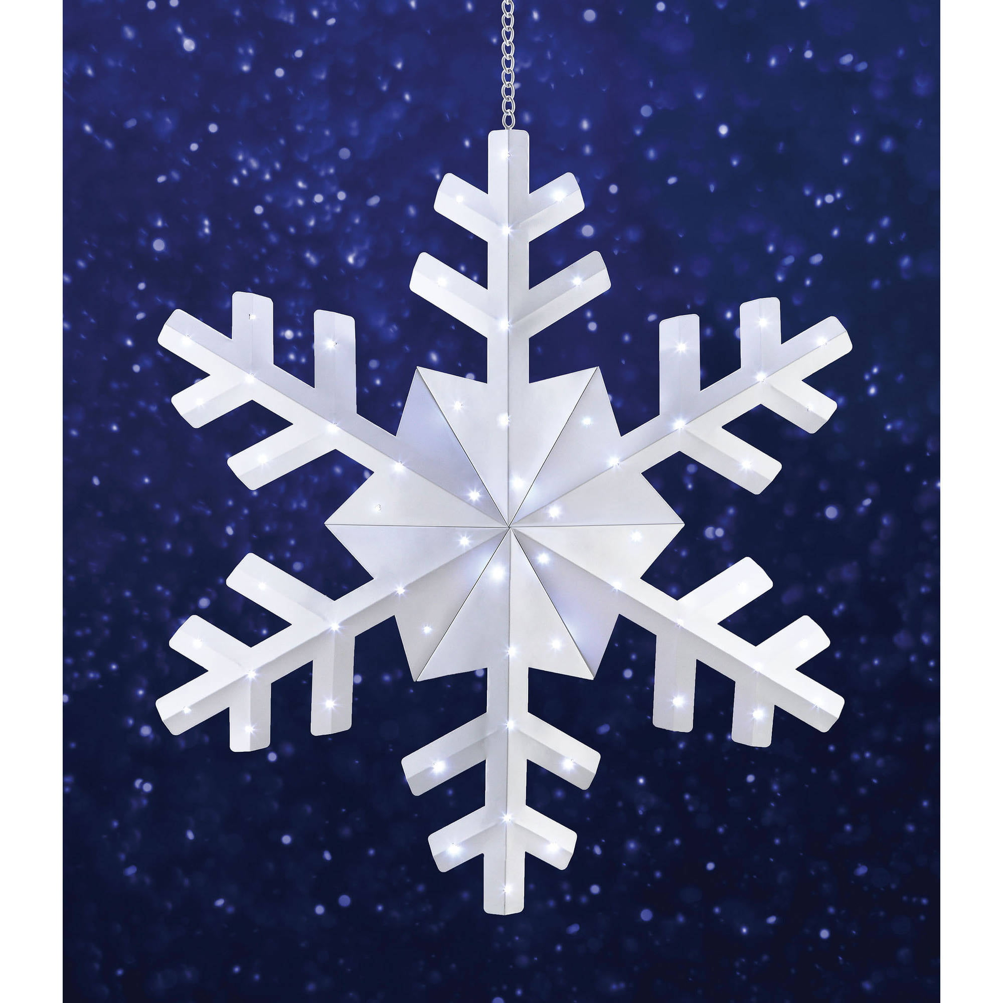 holiday time 36 snowflake christmas outdoor hanging light cool white walmartcom - Battery Operated Christmas Yard Decorations