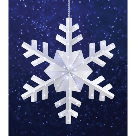holiday time 36 snowflake christmas outdoor hanging light cool white