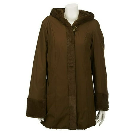 Dennis Basso Reversible Textured Faux Fur Hooded Coat A219637 Faux Fur Coat Limited Edition
