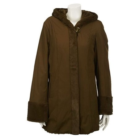 Dennis Basso Reversible Textured Faux Fur Hooded Coat A219637