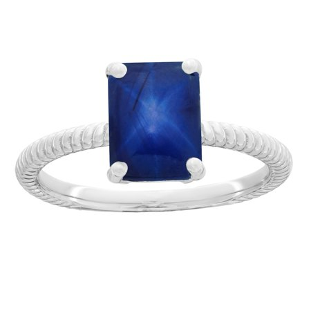 Mm Blue Star Sapphire - Lavari - 1.55 Ct 8x6 MM Elongated Cushion Shape Blue Star Sapphire 925 Sterling Silver Birthstone Ring Size 7