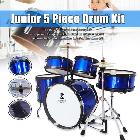 - Drum Kit Bass Drum + Floor Tom + Snare Drum + Tom Tom + Stand Set for Beginner Children Kids Drummer Black Blue Red