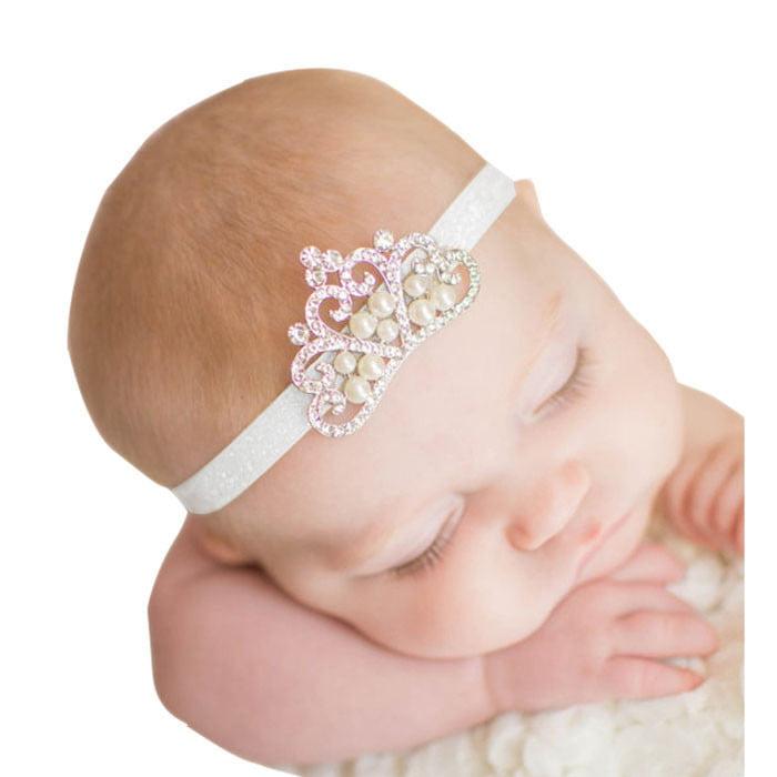 OkrayDirect Crown hair band Princess Baby Girl Crystal Pearl Crown Hairband C