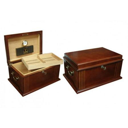 Caesar Desktop Cigar Humidor - French Antique Walnut Finish - Capacity: