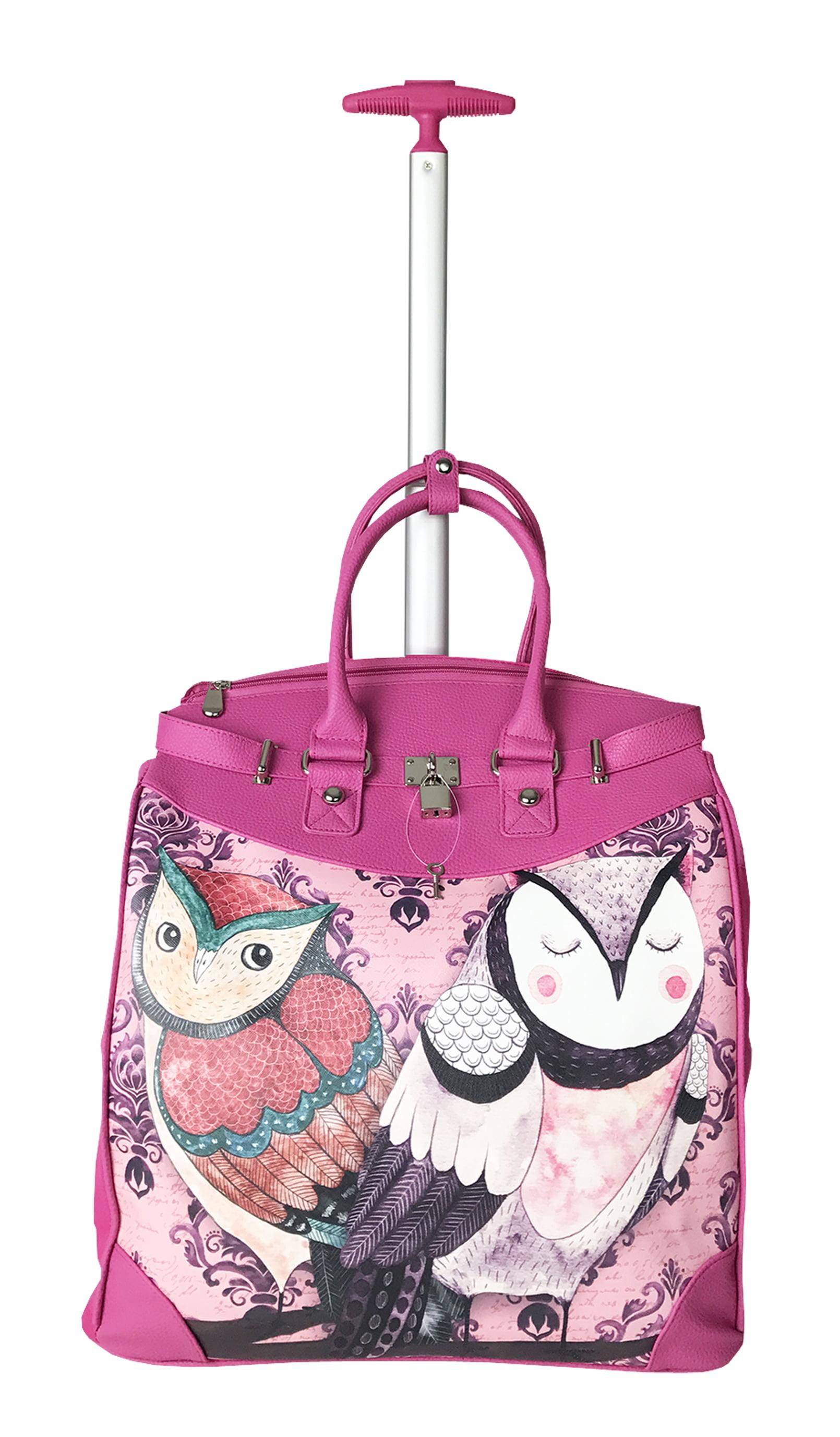 TrendyFlyer Computer Laptop Rolling Bag 2 Wheel Case Pink Owls by TrendyFlyer
